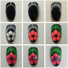 Hibiscus flower nail art tutorial nails manicure