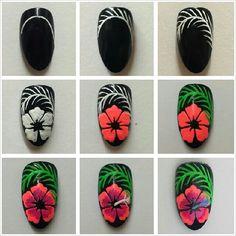 DYI Nail Art Blumen Nageldesign Nail Art Nail Tutorials Nagel Maniküre Source by trangxjnk Nail Manicure, Diy Nails, Manicures, Cute Nails, Pretty Nails, Hibiscus Nail Art, Flower Nail Art, Hawaiian Nails, Nail Art Designs