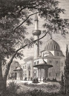 Grabado Pinturas, Blanco y Negro, Gran Mezquita de Sepia, Bursa Impresion De Lienzo What Is Perspective, Istanbul, Art Et Architecture, City Drawing, Picture Engraving, White Art, Art Sketchbook, Pencil Art, Islamic Art