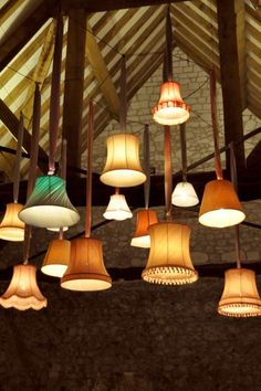 OAKWOOD EVENTS: Vintage lampshades for stylish barn wedding lighting!