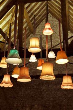 OAKWOOD EVENTS: Vintage lampshades for stylish barn wedding lighting!