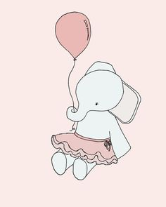 Elephant Ballerina Elephant Nursery Art by SweetMelodyDesigns, $10.00