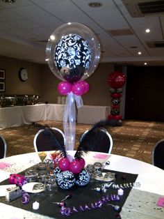 Pink and Black Centerpieces Ideas | ... Balloon Decorators: Wild Berry Pink and Black Damask - 40th birthday