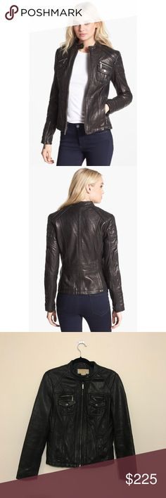 Michael Kors Leather Motorcycle Jacket MICHAEL Michael Kors Leather Motorcycle Jacket Thick topstitching Front zip closure with snap-tab collar Front zip pockets; dual zip/snap-flap chest pockets Zip cuffs Fully lined Super soft genuine leather Professional leather clean only MICHAEL Michael Kors Jackets & Coats