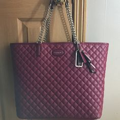 💃🏼MAKE OFFER💃🏼NWT Coach quilted leather bag WILL SELL FOR LESS - ask how! Length: 15 inches / height: 12 inches / width: 6 inches = huge bag!! So much space inside for laptops, iPads, wallets, water bottles, literally anything -- it's the biggest bag I have. Beautiful oxblood color. Quilted leather with silver chain accents (straps are chains). 3 cute keychains attached. Purple interior. No flaws. Absolutely perfect! I paid $398 plus tax ($421) and the tag is unattached but inside still…