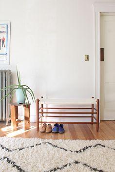beni ouran rug, blue beatrice valenzuela shoes, bench, green planter, rennes