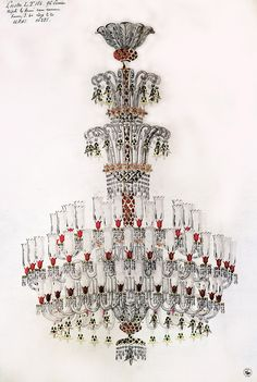 Archive drawing for cristal chandelier. #Baccarat