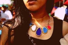 Stone Neckpiece by jewelry designer Rashmi Watwani at the Kitsch Mandi flea market, Bangalore