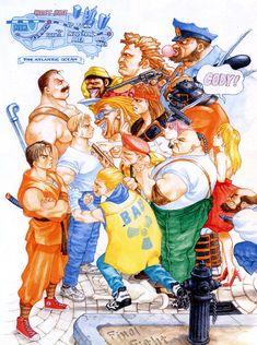 j guy poison Capcom Street Fighter Axl Sodom Mike Haggar final fight schtgr cody travers rolento edi e bill bull belger damnd sega-neptune Vintage Video Games, Classic Video Games, Retro Video Games, Video Game Art, Retro Games, Art Of Fighting, Fighting Games, Final Fight, Game Character