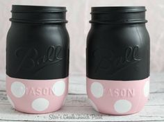 Minnie Mouse Chalk Painted Mason Jars. Baby by starschalkpaint