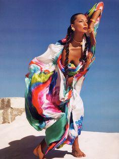 Daria Werbowy by Inez & Vinoodh for Vogue Paris (April Editorial: Dans Le Vent Dress: Christian Lacroix (RTW Spring Big Fashion, Fashion Editor, Editorial Fashion, Fashion Models, Vogue Editorial, Gypsy Fashion, Fashion Women, Style Fashion, Fashion Outfits