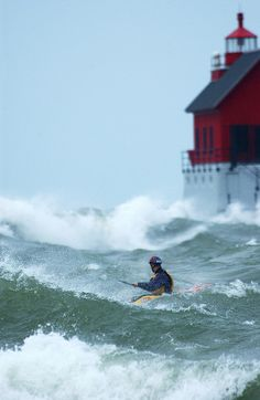 Kayak surfing in the Great Lakes | Flickr - Photo Sharing!