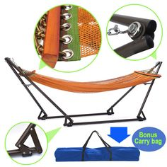 amazon    zeny   portable hammock folding stand travel carrying outdoor camping sleeping carry kijaro 8 ft 4 in polyester hammock with stand 80577   camper      rh   pinterest