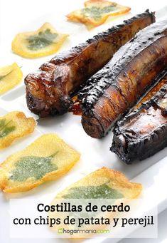 Receta de Costillas de cerdo con chips de patata y perejil Steak, Ethnic Recipes, Patio, Potatoes, Ethnic Food, Rib Recipes, Parsley, Proposal, Pork