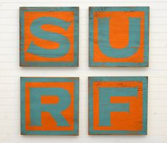 Wooden SURF Letter Set Beach Decor Surf Sign by SlippinSouthern