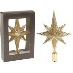 Deze gouden piek met glitters in ster vorm is gemaakt van kunststof en heeft een afmeting van ca. 12 x 25 cm. Diameter gat: ca. 1 cm.