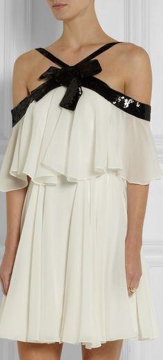 Saint Laurent sequin-embellished silk-georgette mini dress | cynthia reccord