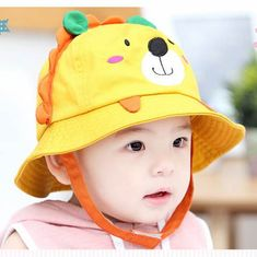 Cute Lion bucket hats with ears for kids summer UV sun protection hats.  IMLECK Little Lion Baby Sun Hat ... 2131dae4913c