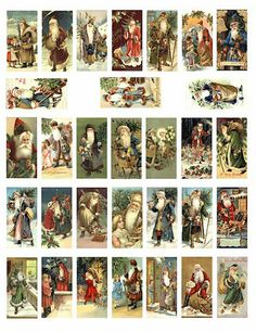 victorian old world Santa Claus christmas COLLAGE SHEET 1x2 inch dominos>