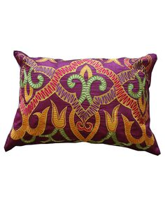 Henna embroidered pillow in purple