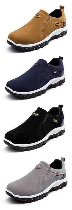 Men Hiking Suede Breathable Slip Resistant Slip On Outdoor Sneakers