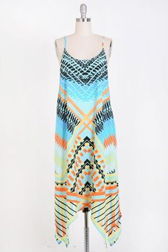 Beautiful colorful patterned side hi-lo dress with adjustable straps. Selling On Pinterest, Boutique Dresses, Cover Up, Colorful, Summer Dresses, Big, Clothes, Shopping, Beautiful