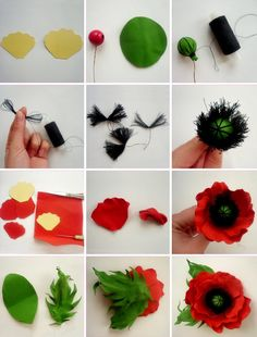 Flowers from tameran: master class for beginners with step by step photos - DIY Blumen Paper Flowers Craft, Crepe Paper Flowers, Clay Flowers, Flower Crafts, Fabric Flowers, Felt Flowers Patterns, Origami Flowers, Poppy Flower Bouquet, Flower Corsage