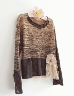Eco Fashion clothing/ Funky Tattered Crop Sweater / by KheGreen, $49.99