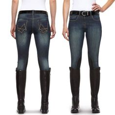 """Tired of ripping up your favorite jeans? Take a ride in the Ariat Women's Denim Breech!This Ariat® breech features all of the technology and durability of a traditional riding breech. Featuring the """"V"""" Fit System™ and the CFS™, this breech removes pressure and friction from your calf and ankle points. The synthetic suede knee patch makes this denim breech ideal for schooling. The fun stitch design on the back pockets adds a touch of sass to these lovable riding pants. Have no more fear…"""