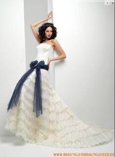 aacedaa5a3f Wunderschöne Brautkleider aus Organza A-Linie mit Band online 2013