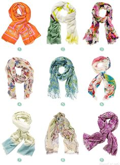 Spring Scarves: Colorful, Lightweight a nice way to top off a simple dress or t-shirt.