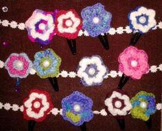 Crocheted flower hair clips