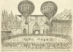 A printed sketch by Dickens illustrating the 'ascent of Mr Green's balloons from the firework ground of Vauxhall Gardens July 1836'.