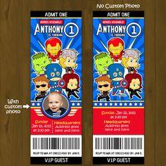 Baby Avengers Ticket Invitation - Young Cartoon Avengers superheroes Printable Birthday Invitation - Movie Ticket Style Baby Avengers, Avengers Superheroes, Avengers Birthday, Ticket Invitation, Printable Birthday Invitations, 5th Birthday, Birthday Stuff, Baby Shawer, Superhero Party