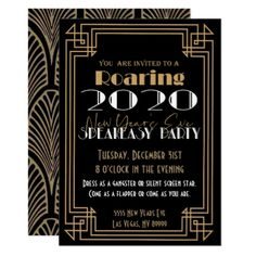 New Years Eve 2020 Party Invitation - Prom committee - Christmas Speakeasy Party, Gatsby Themed Party, Prohibition Party, New Years Eve Invitations, Party Invitations, Invitation Cards, Great Gatsby Invitation, Invitation Ideas, Roaring 20s