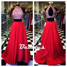 Red Two Piece High Neck Prom Gown With Keyhole Back