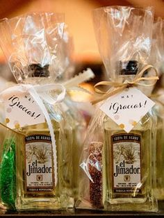 Mexican inspired wedding favor | little bottles of tequila with sour lime wedge candy! Tracey Buyce Photography @mazzonehosp