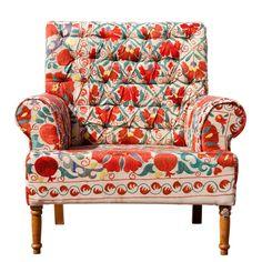 Vintage Suzani Chair (Distressed look)