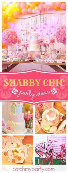 Take a look at this magical Shabby Chic birthday party! The dessert table is amazing!! See more party ideas and share yours at CatchMYParty.com #partyideas #catchmyparty #shabbychic
