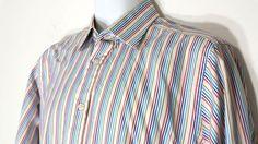 Charles Tyrwhitt Shirt 16/35 Multi Color 100% Cotton Slim Fit Long Sleeve Stripe #CharlesTyrwhitt