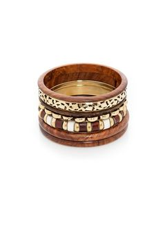 Assorted Wooden Bangles - Earthy eastern chic- goes with any color