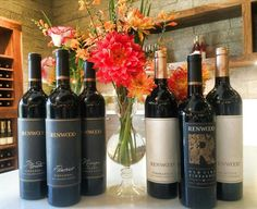 Amador County Zinfandel, Tempranillo, and Primitivo and flowers at Renwood Winery.