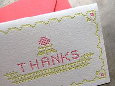 Pistachio Press thank-you card, $15 for 6 (Made in Rochester, New York) #madeinusa #madeinamerica