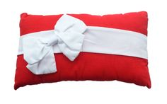 Bow Cushion in Red and White