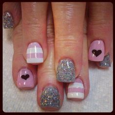 Cute Pink & Glittery Silver Nails With Hearts On Ring Finger