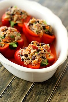 Quinoa Stuffed Peppers (vegetarian)... Made these for dinner last night and OHMYGOD. You should seriously go make these right now. You're welcome.