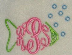Fish Frame Embroidery Design | Apex Embroidery Designs, Monogram Fonts & Alphabets