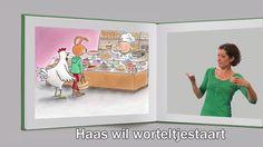 Het kinderboek Haas wil worteltjestaart van Annemarie Bon (tekst) en Gertie Jaquet (illustraties) in Nederlandse gebarentaal verteld door Merel van Zuilen. Met dank aan uitgeverij The House of Books http://www.thehouseofbooks.com