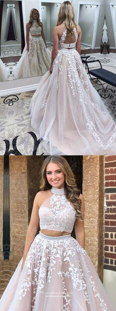 Two Piece Prom Dresses Long, White Formal Evening Dresses A-line, Lace Military Ball Dresses Halter, Sweet Pageant Graduation Party Dresses Tulle Modest Formal Dresses, Junior Prom Dresses, Prom Girl Dresses, Formal Dresses For Teens, Prom Dresses 2018, Plus Size Prom Dresses, Cheap Evening Dresses, Trendy Dresses, Lace Dresses