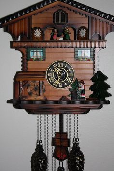 CUCKOO CLOCK Chalet Pendulum Quartz With Violin by SherisShoppe